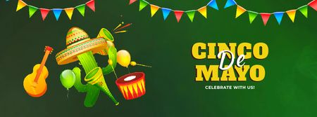 Ontwerpsjabloon van Facebook Video cover van Cinco de Mayo Mexican holiday