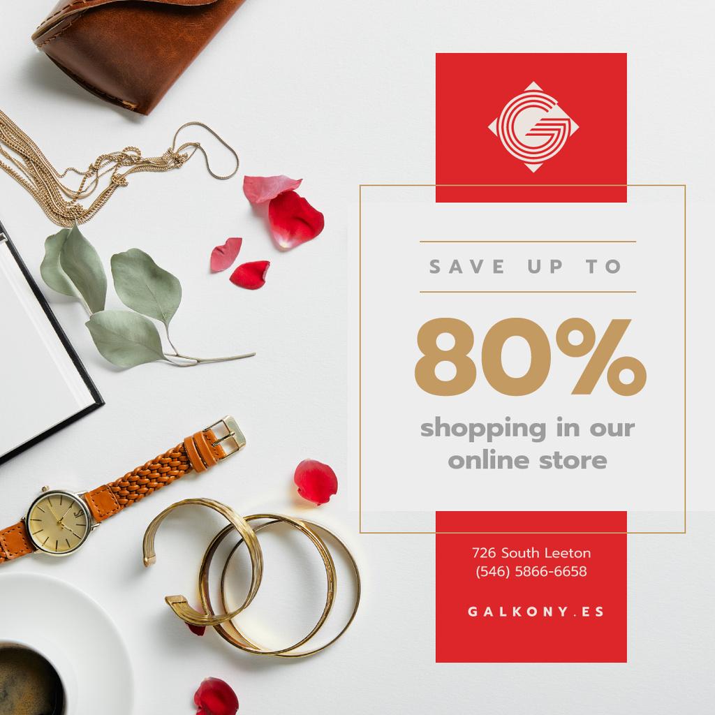 Accessories Sale Fashion Look Composition — Modelo de projeto