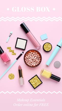 Makeup Store Ad Cosmetics in Pink Instagram Video Story Modelo de Design