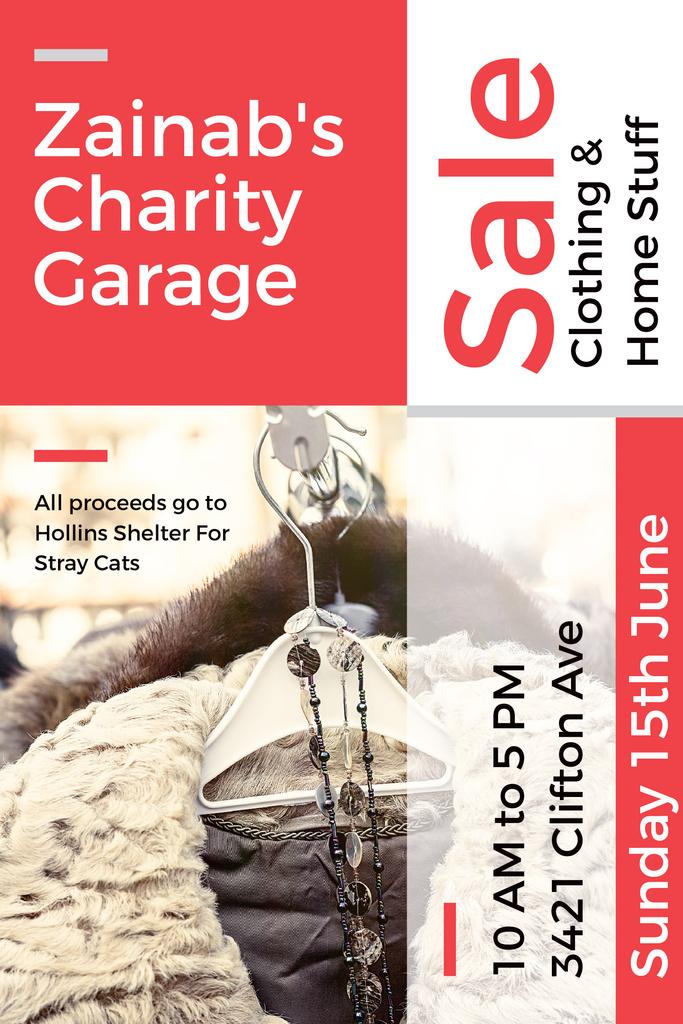 Charity Sale Announcement with Clothes on Hangers Pinterest Tasarım Şablonu