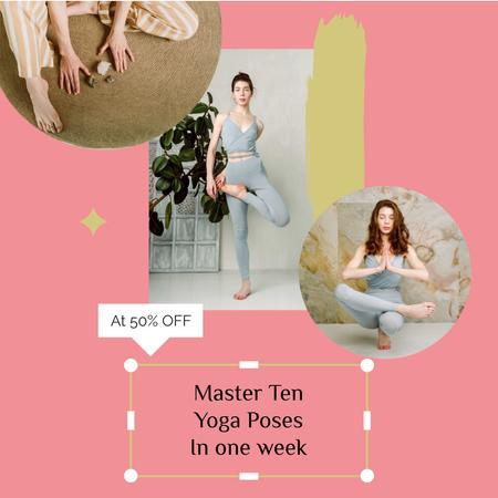 Yoga Courses sale Instagram ADデザインテンプレート