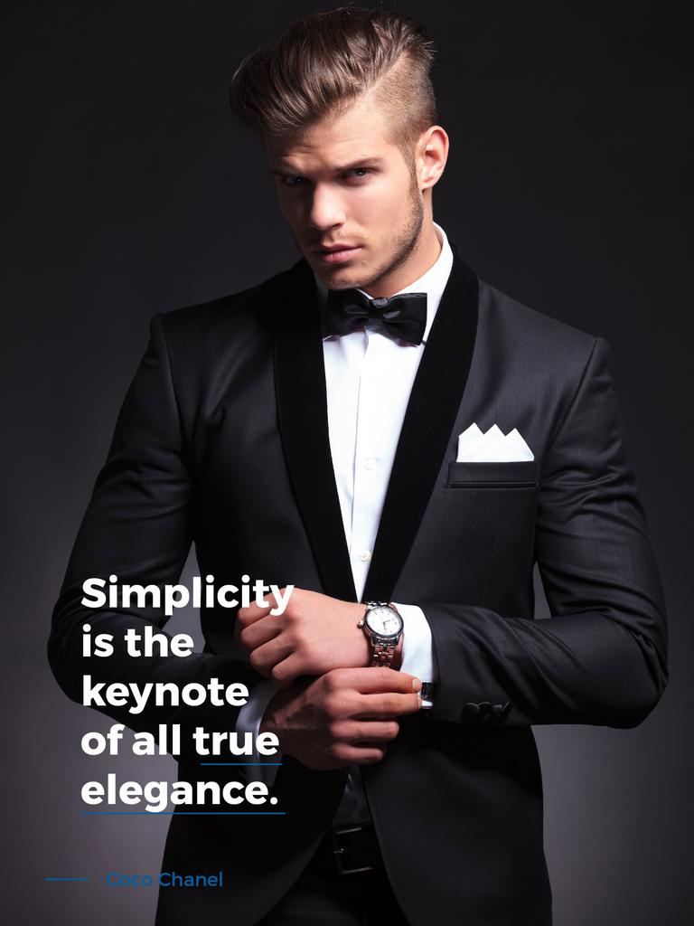 Simplicity is the keynote of all true elegance poster — Créer un visuel