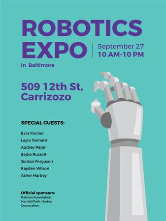 Template di design Android Robot hand for expo Poster US