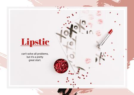 Lipstick and red sequins Postcard Design Template
