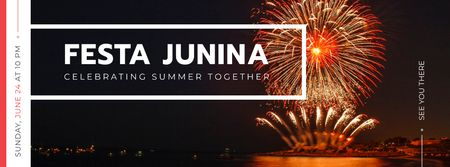 Modèle de visuel Festa Junina event with fireworks - Facebook cover