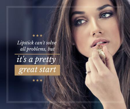Ontwerpsjabloon van Facebook van Lipstick Quote Woman applying Makeup