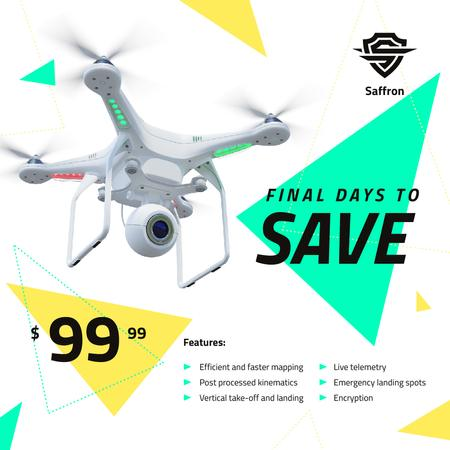 Gadgets Sale Drone with Camera Flying Instagram AD Design Template