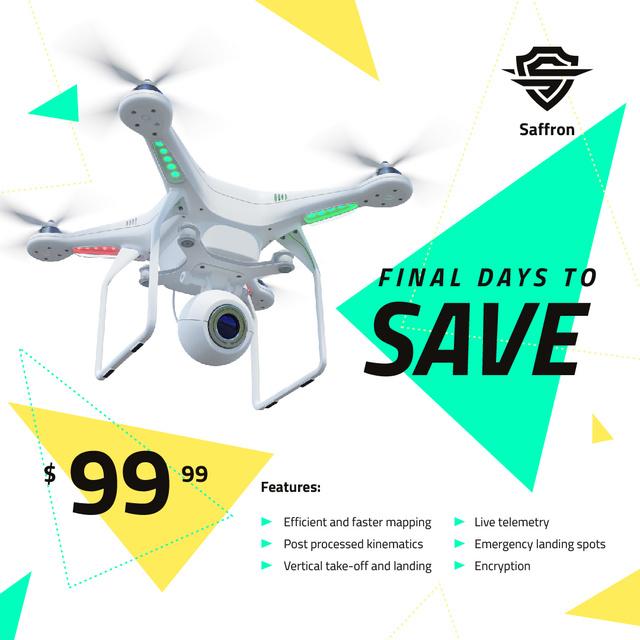 Gadgets Sale Drone with Camera Flying Instagram AD Tasarım Şablonu