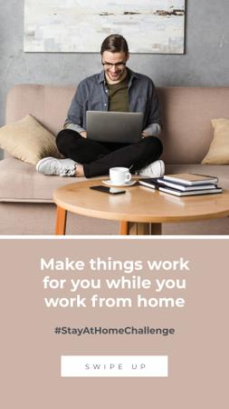 Template di design #StayAtHomeChallenge Man with laptop working on sofa Instagram Story