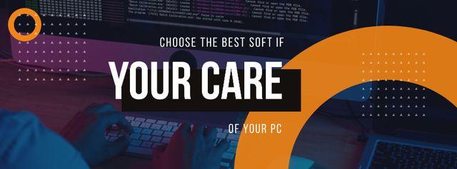 Ontwerpsjabloon van Facebook cover van Computer Software concept