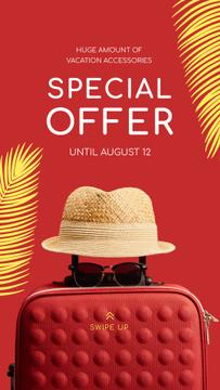 Travelling Accessories Sale Suitcase and Hat in Red