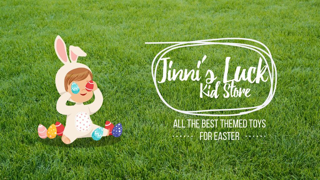 Easter Offer Kid in Bunny Costume — Créer un visuel