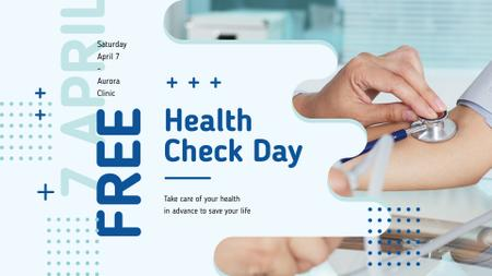 Ontwerpsjabloon van FB event cover van Free Health Check Doctor Examining Patient