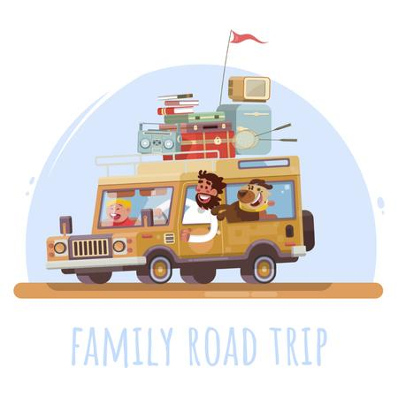 Happy family travelling by car Animated Postデザインテンプレート