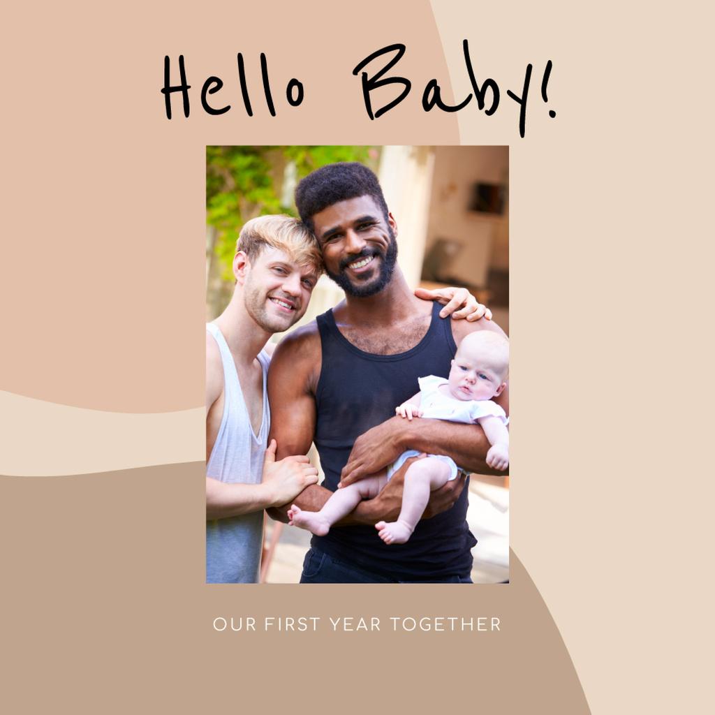 Happy Gay Family with baby — Создать дизайн