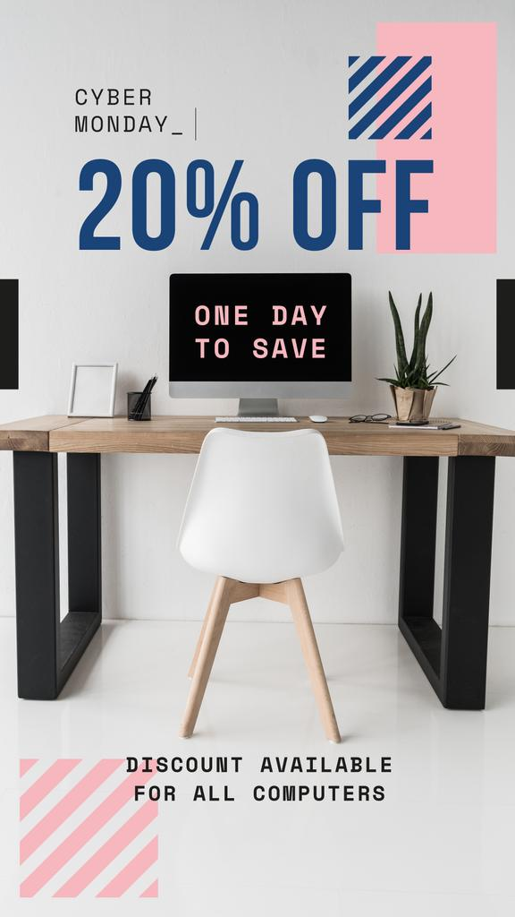 Cyber Monday Offer Computer on Working Table — Create a Design