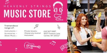 Ontwerpsjabloon van Image van Music Store Ad Woman Selling Guitar