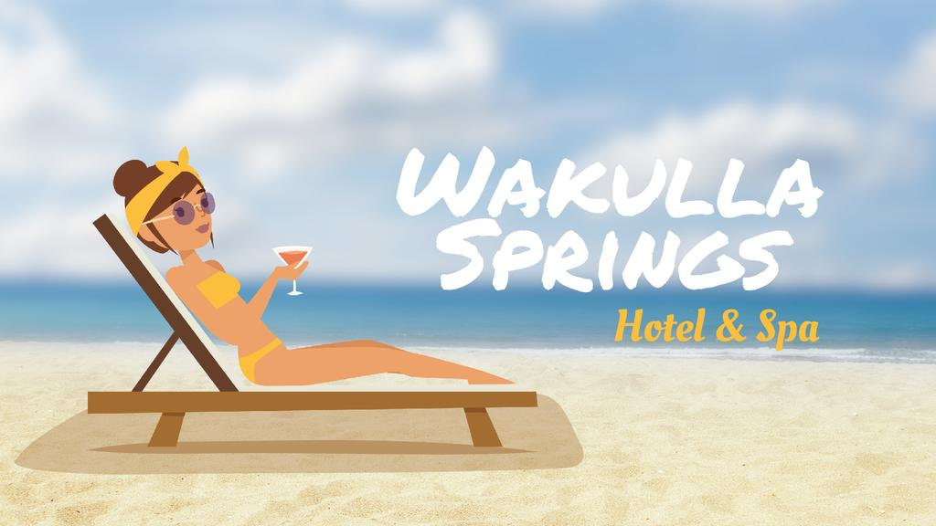 Hotel Resort Ad Woman with Cocktail at the Beach — Crea un design