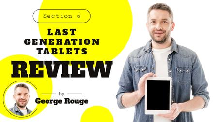Gadget Review Man Holding Smartphone Youtube Thumbnail Modelo de Design