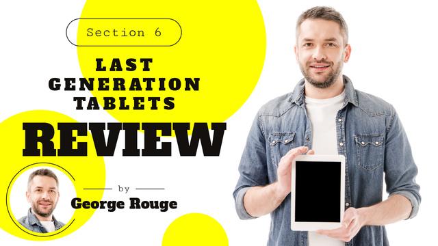 Plantilla de diseño de Gadget Review Man Holding Smartphone Youtube Thumbnail