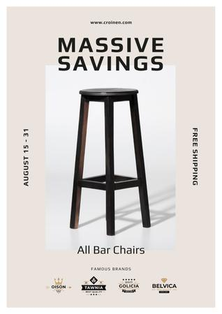 Bar Chairs Offer in White Poster Modelo de Design