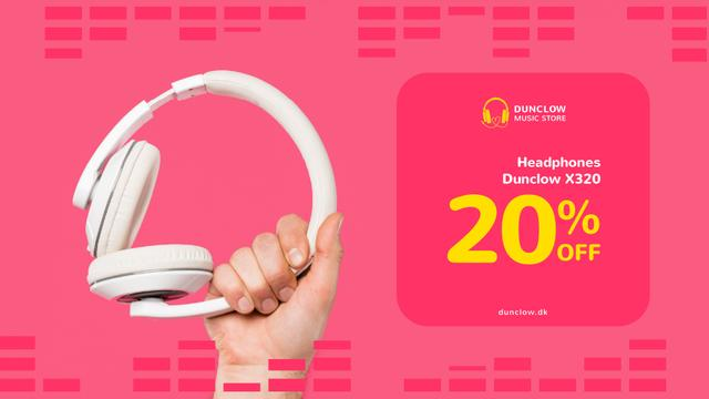 Ontwerpsjabloon van Full HD video van Special Sale with Man holding headphones