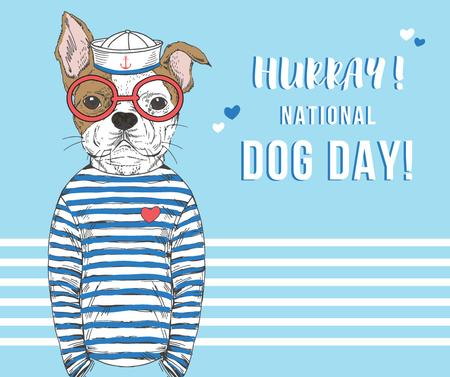 Dog day greeting Puppy in blue Facebook Design Template