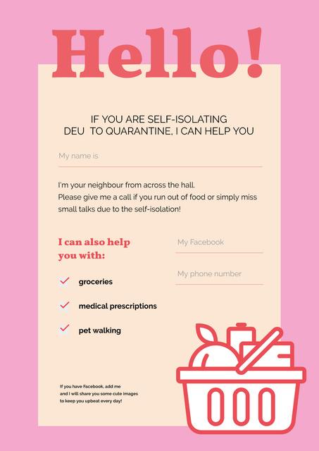 Volunteer Help Notice for people on Self-isolation Poster – шаблон для дизайна