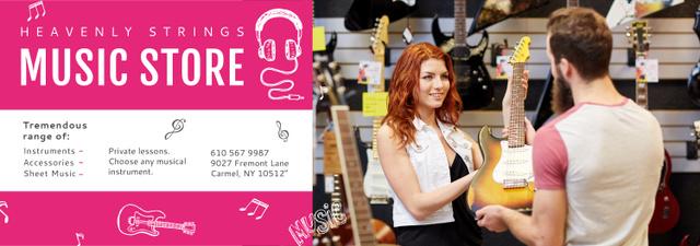 Ontwerpsjabloon van Tumblr van Music Store Ad Woman Selling Guitar