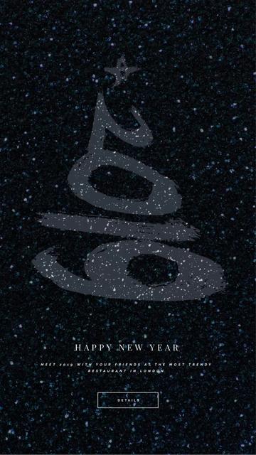 New Year Shining Glitter Greeting Instagram Video Story Modelo de Design