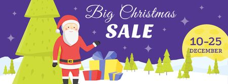 Christmas Holiday Sale with Santa Delivering Gifts Facebook cover – шаблон для дизайну