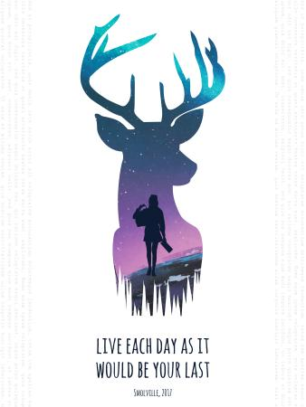 Modèle de visuel Motivational quote with Deer and Woman silhouette - Poster US