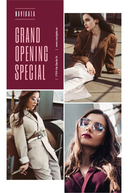 Fashion Store Grand Opening Announcement Stylish Woman Tumblr Design Template