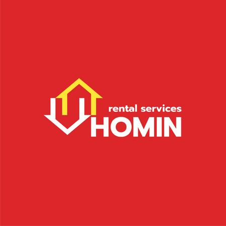 Real Estate Agency Ad with Houses Icon in Red Logo Modelo de Design
