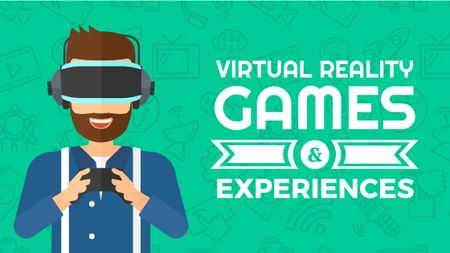 Plantilla de diseño de Man playing in vr glasses Title