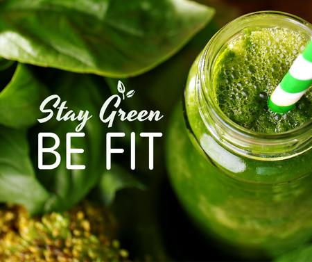 Green Smoothie in glass jar Facebook Tasarım Şablonu