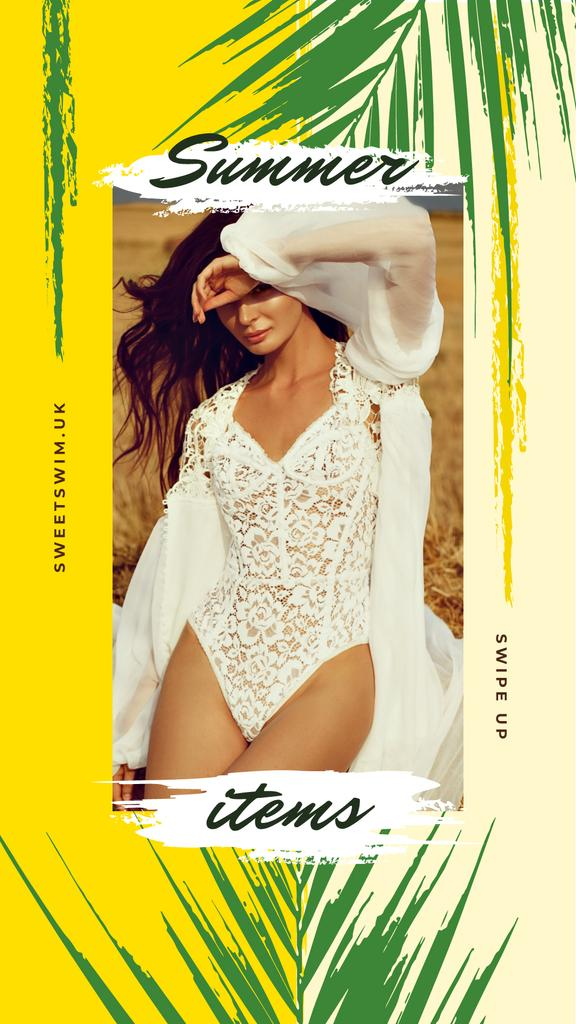 Stylish woman in white clothes — Crea un design