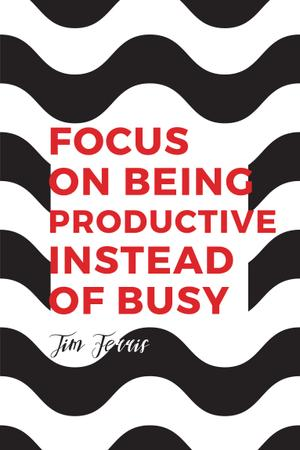 Modèle de visuel Productivity Quote on Waves in Black and White - Pinterest
