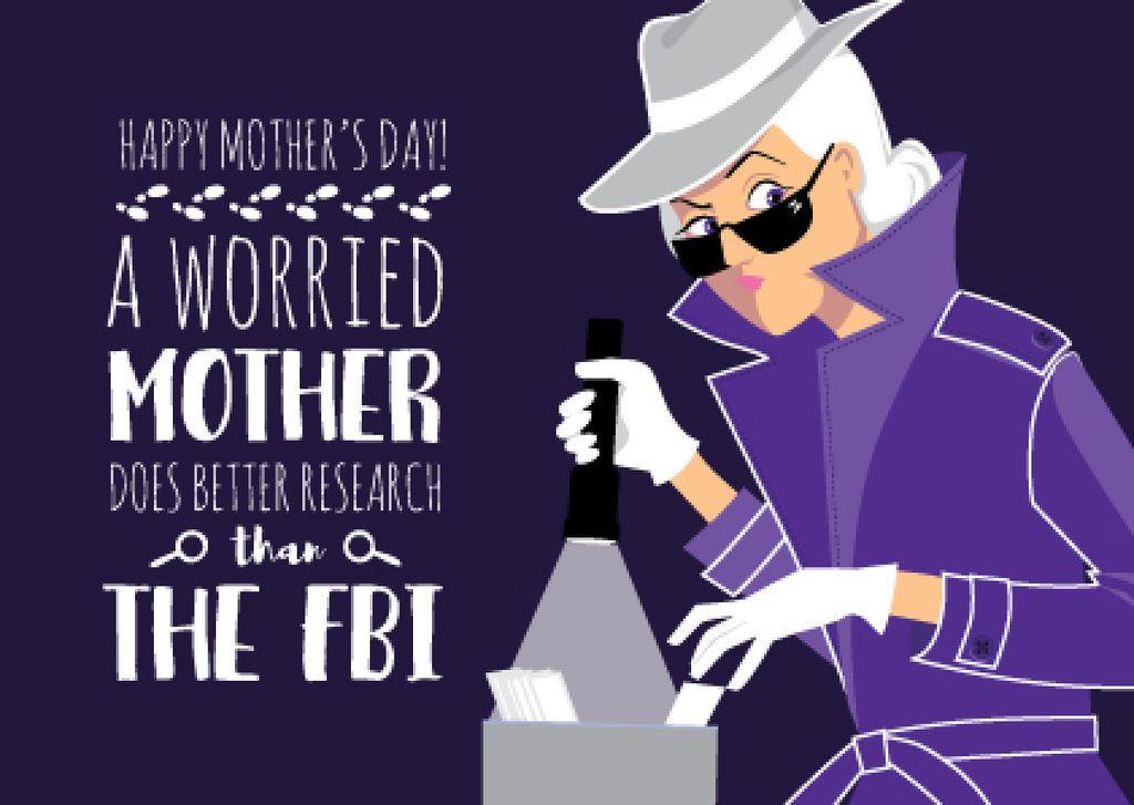 Happy Mother's Day postcard with detective Mom — Создать дизайн