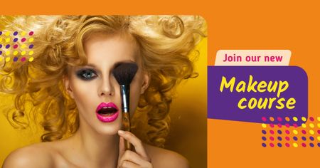 Plantilla de diseño de Makeup Course Ad Attractive Woman holding Brush Facebook AD