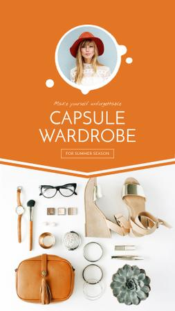 Ontwerpsjabloon van Instagram Video Story van Capsule Wardrobe Flat Lay in Beige