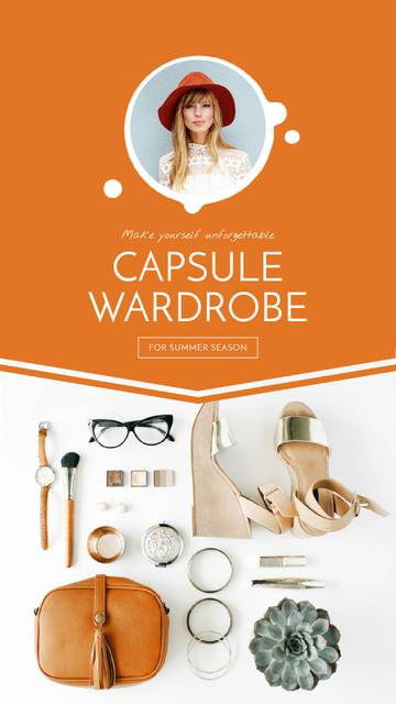 Template di design Capsule Wardrobe Flat Lay in Beige Instagram Video Story