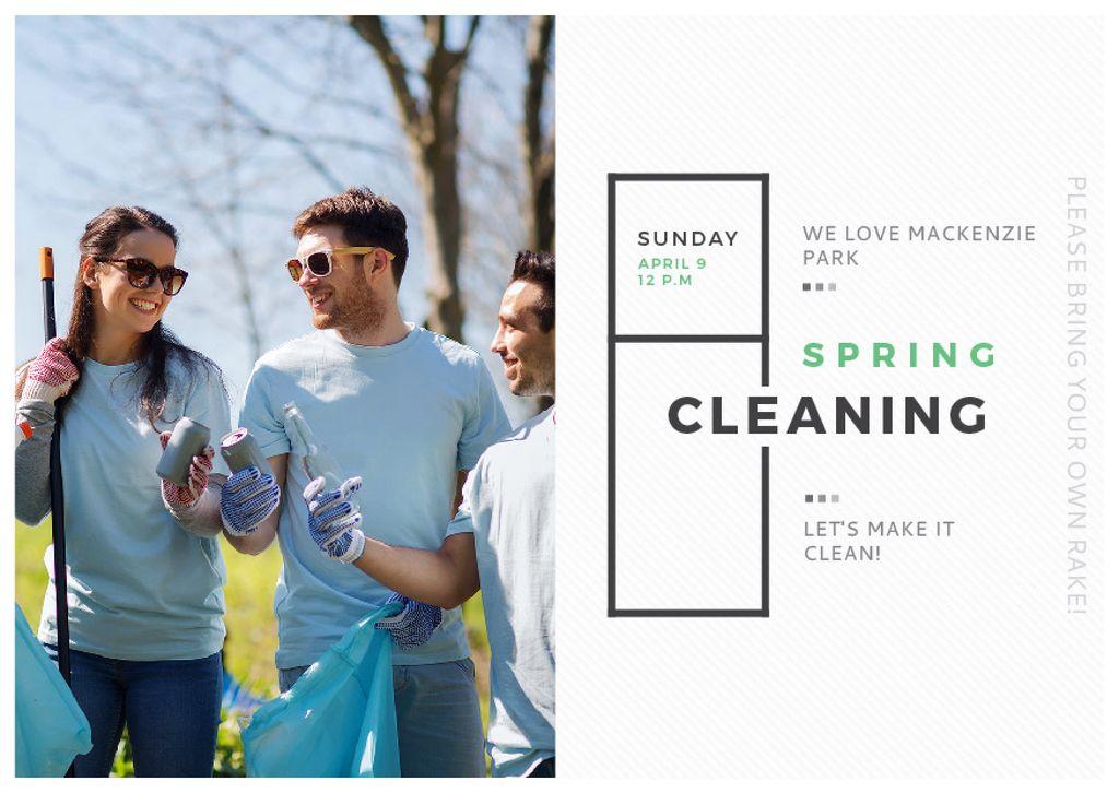 Ecological Event Volunteers Collecting Garbage — Maak een ontwerp