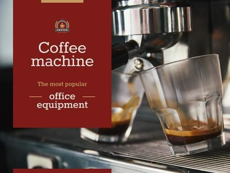 Coffee Machine Sale with Brewing Drink Presentation Modelo de Design