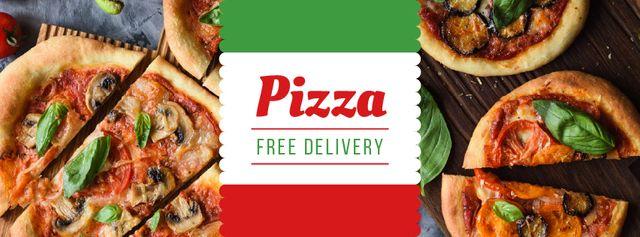 Designvorlage Pizza tasty slices for Delivery offer für Facebook cover