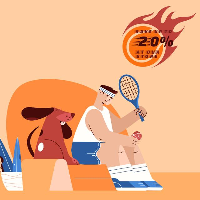 Designvorlage Sporting Goods Sale with Tennis Player and Dog für Animated Post