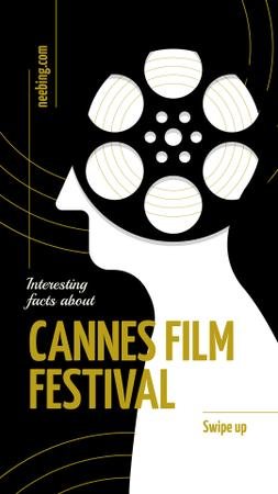 Template di design Cannes Film Festival with Man silhouette Instagram Story