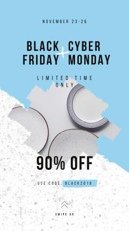 Black Friday Sale Kitchen ceramic tableware Instagram Story – шаблон для дизайна