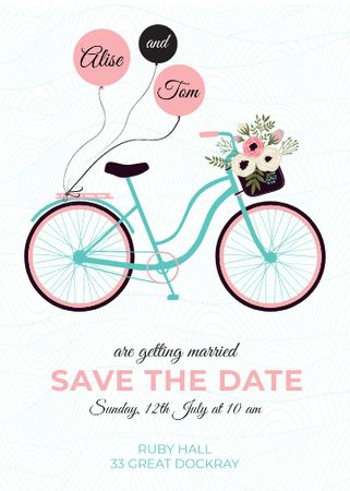 Ontwerpsjabloon van Invitation van Save the Date with Bicycle and Flowers