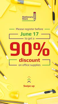 Stationery Store Ad with Office Supplies in Yellow | Stories Template